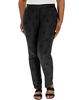 Black Broderie Tapered Trousers