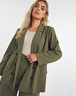 Simply Be Jersey Double Breasted Blazer
