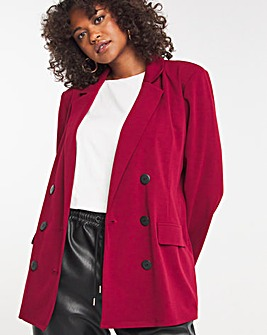 Wine Relaxed Scuba Double Breasted Blazer