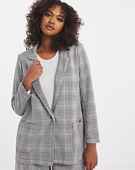 Pink Check Pocket Detail Oversized Blazer