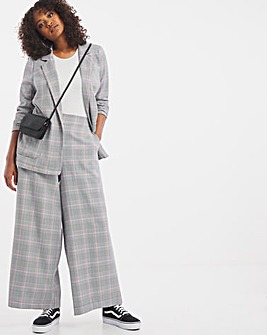 Pink Check Tailored Check Wide Trouser