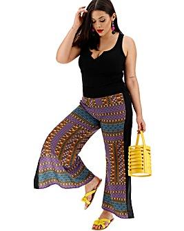 Black & Tan Split Side Wide Leg Trousers
