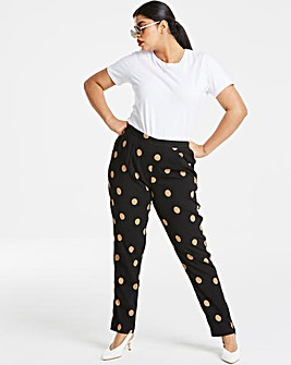 Spot Crepe Tapered Leg Trousers
