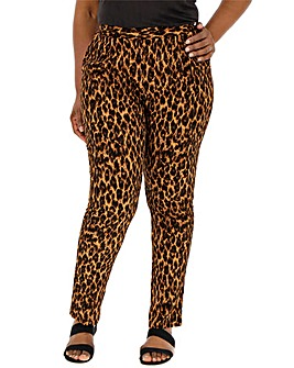 Leopard Print Crepe Tapered Trousers