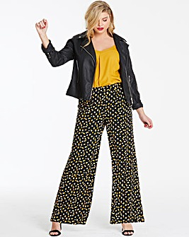 Spot Print Crepe Wide Leg Trousers