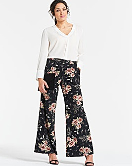 Floral Print Crepe Wide Leg Trousers