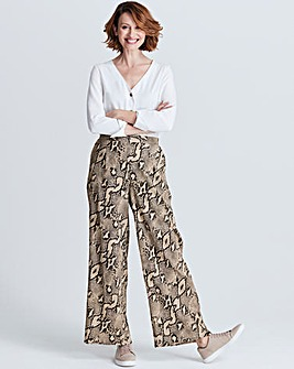 Snake Print Wide Leg Crepe Trousers