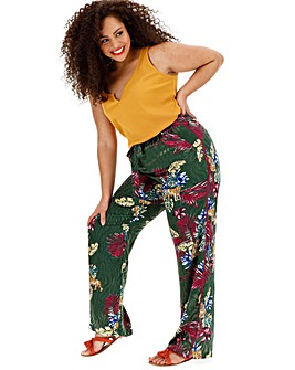 Jacquard Print Wide Leg Trousers Regular