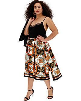 Hanky Hem Scarf Print Midi Skirt