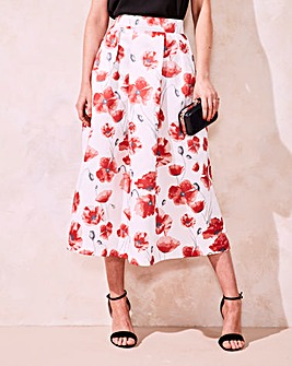 Printed Prom Midi Skirt
