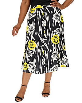 Button Front Print A Line Midi Skirt