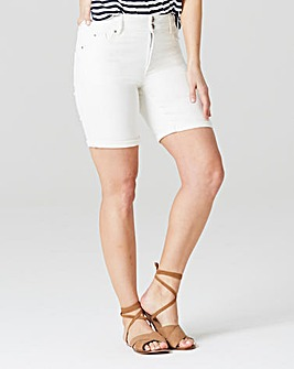 Premium White Shape & Sculpt Denim Shorts Inside Leg 7in