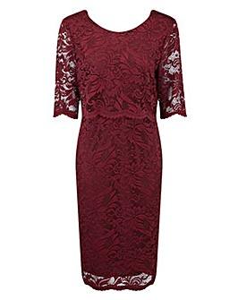 Grace lace overlay midi dress