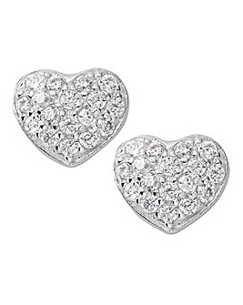 Pave Heart Stud Earring