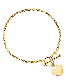9CT Mini Heart T Bar Chain Bracelet