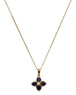 9ct Yellow Gold Sapphire Pendant