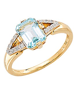 9ct Yellow Gold Topaz & Diamond Ring