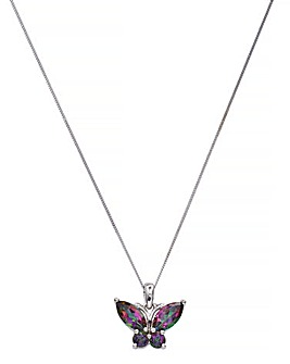 9CT White Gold Topaz Butterfly Pendant