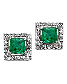 9ct White Gold Emerald Earrings