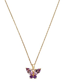 9ct Yellow Gold Pink Butterfly Pendant