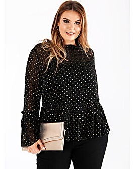 Koko Sheer Spot Ruffle Neck Top
