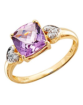 9ct Yellow Gold Pink Diamond Ring