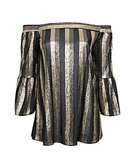 Lovedrobe GB Plisse stripe bardot blouse