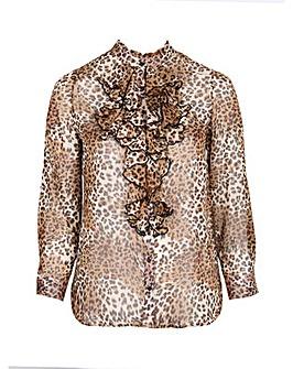 Lovedrobe GB Leopard Ruffle Front Shirt