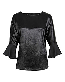 Lovedrobe GB Black Satin Bell Sleeve Top