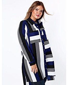 Koko Blue and Black Stripe Panel Shirt
