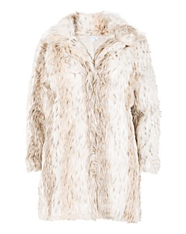 Blue Vanilla Curve Faux Fur Coat