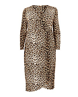Blue Vanilla Curve Leopard Wrap Dress