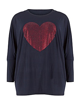 Blue Vanilla Curve Sequin Heart Top