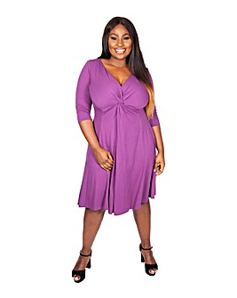 Scarlett & Jo Plum Knot Front Dress