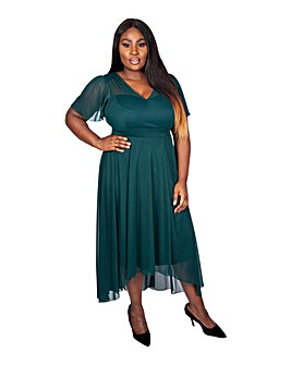 Scarlett & Jo Green Dipping Hem Dress