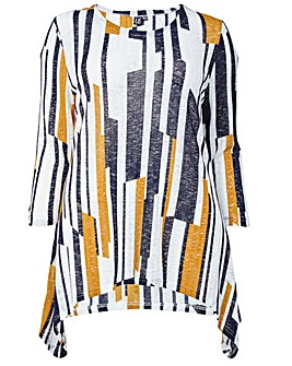 Izabel London Curve Abstract Print Top