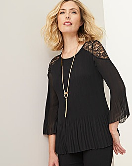 Julipa Pleated Tunic with Lace Shoulder