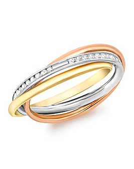 9 Carat Three Colour CZ Band Ring