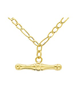 9 Carat Gold T-Bar Figaro Necklace