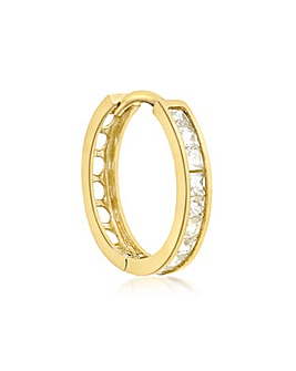 Gents 9 Ct Gold CZ Single Hoop Earring