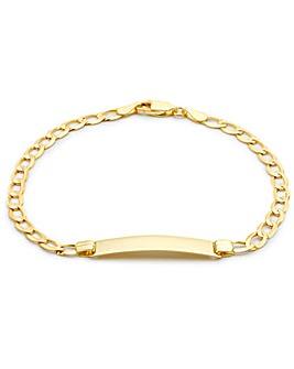 9 Ct Gold Flat Curb Ladies ID Bracelet