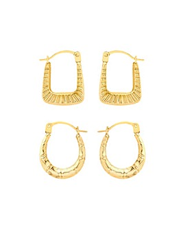 9 Carat Gold 2 Small Creole Earrings Set