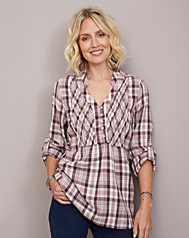 Julipa Check Cotton Pintuck Shirt