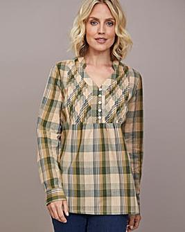 Julipa Check Cotton Pintuck Shirt