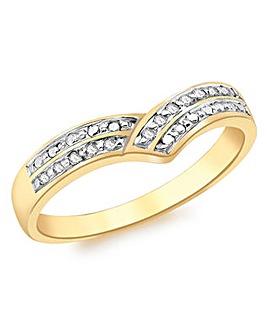 9Ct Gold Diamond Wishbone Ring