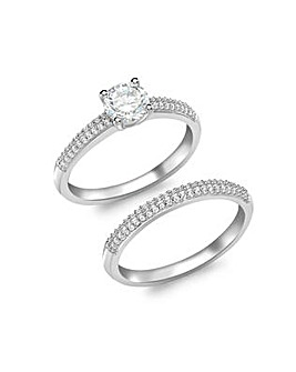 9 Carat White Gold Pave CZ Bridal Set