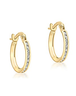 9 Ct Gold Cubic Zirconia Hoop Earrings