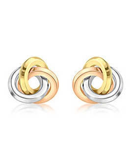 9 Carat Gold 3-Tone Knot Stud Earrings
