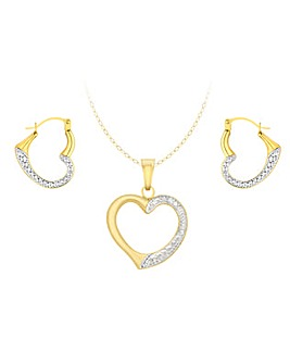 9 Carat Gold Hearts Pendant Earrings Set