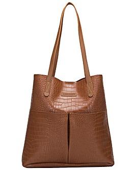 Claudia Canova Annalise Xl Croc Print Tote Bag